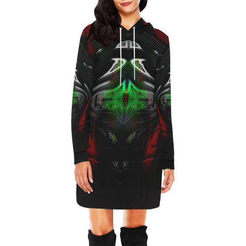 5000DUBLE 2 All Over Print Hoodie Mini Dress (Model H27)