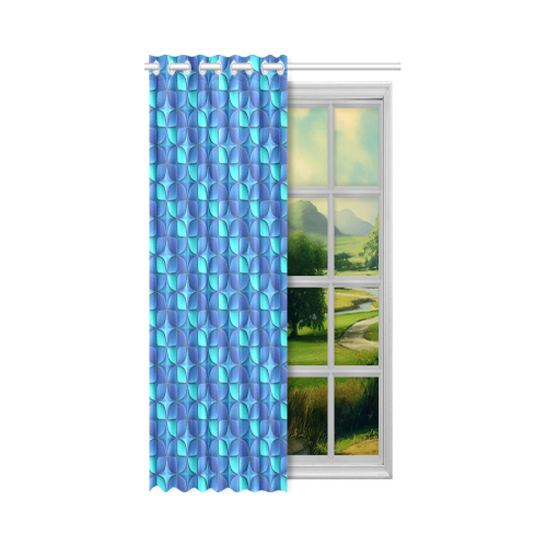 """Blue shades abstract New Window Curtain 52"""" x 84""""(One Piece)"""