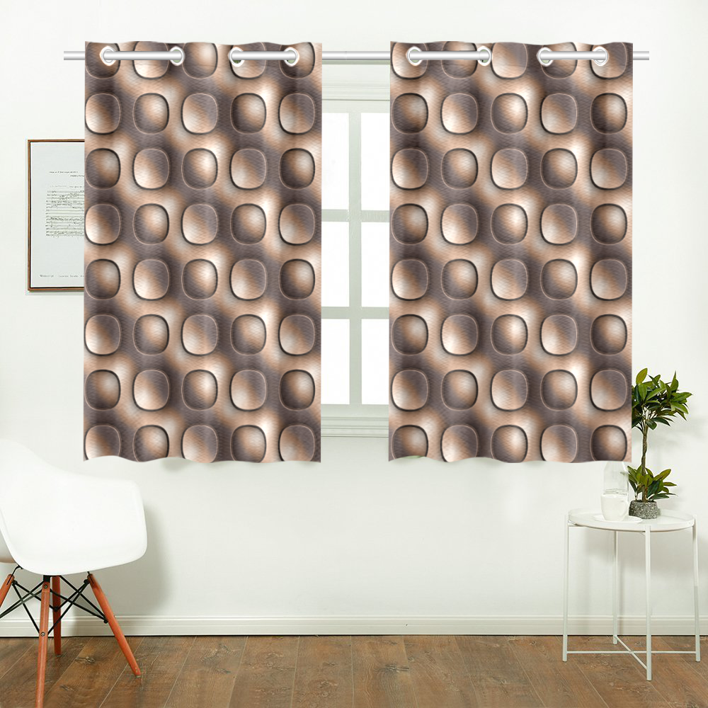 Brown glossy toned buttons Kitchen Curtain 26'' X 39''(2 Pieces, 1 Design)
