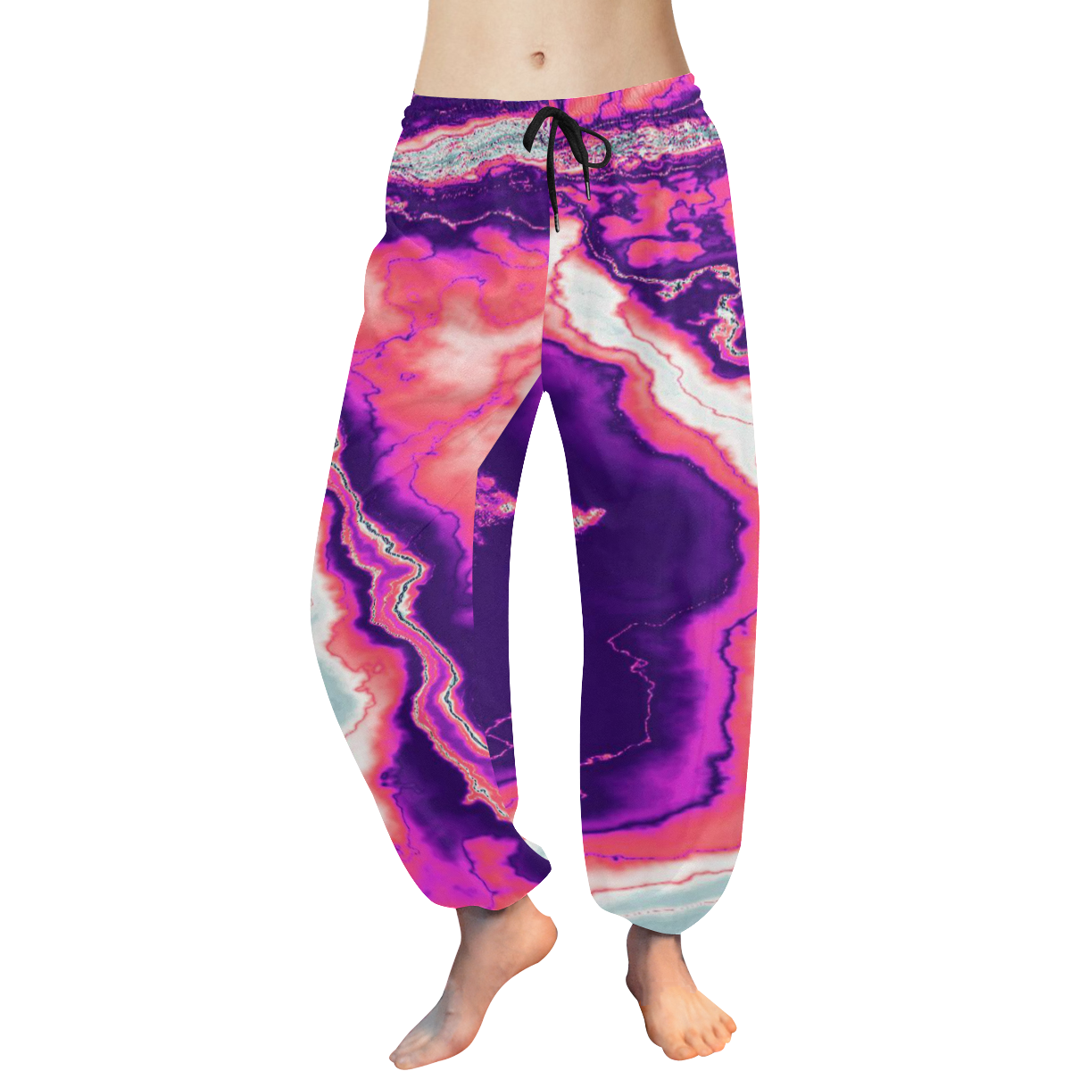 Pink and Purple Geode Women's All Over Print Harem Pants (Model L18)