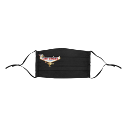 Las Vegas Welcome Sign on Black Pleated Mouth Mask with Drawstring (Model M06)