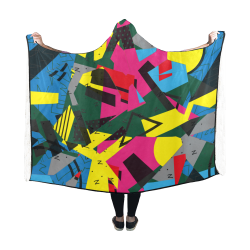 Crolorful shapes Hooded Blanket 60''x50''