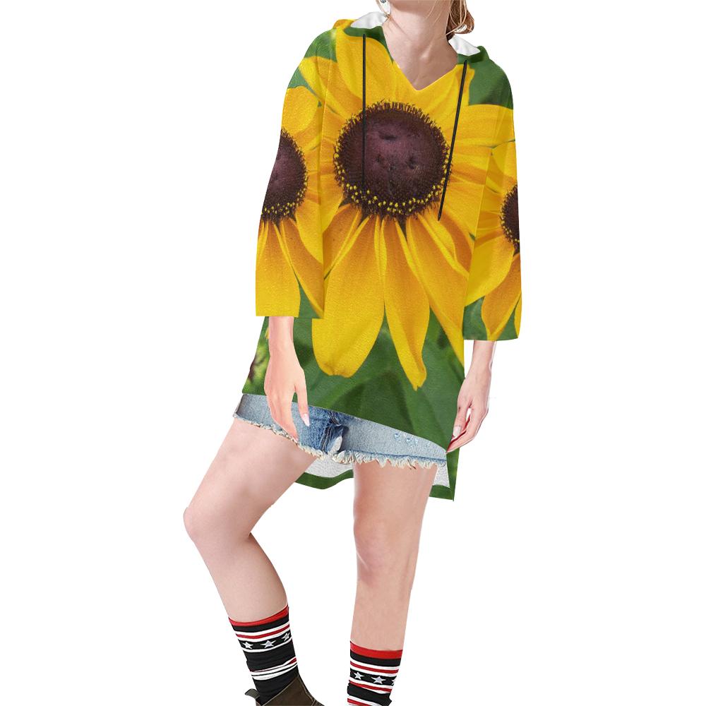 Black Eyed Susan Beauty Step Hem Tunic Hoodie for Women (Model H25)