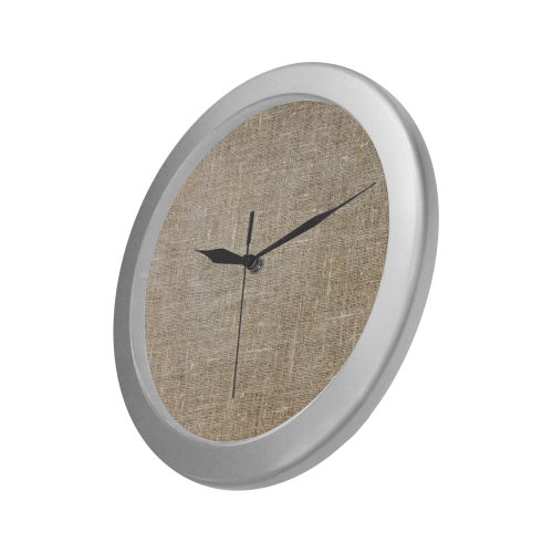 Silver Frame Wall Clock Classic Graphic Textile Style Modern Art Wall Clock Silver Color Wall Clock