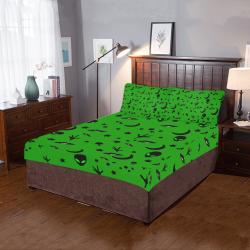 Alien Flying Saucers Stars Pattern Green 3-Piece Bedding Set
