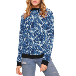Digital Blue Camouflage High Neck Pullover Hoodie for Women (Model H24)