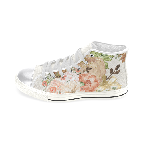Sweet Flower Shoes, Pumpkin Women's Classic High Top Canvas Shoes (Model 017)