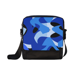 Camouflage Abstract Blue and Black Crossbody Nylon Bags (Model 1633)