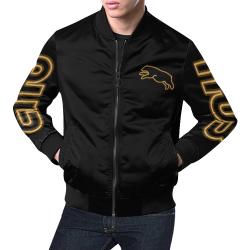 Gold Neon Jumping Bear All Over Print Bomber Jacket for Men (Model H19)