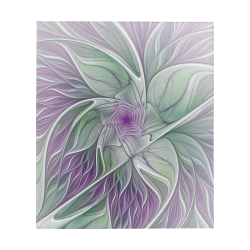 "Flower Dream Abstract Purple Sea Green Floral Fractal Art Quilt 60""x70"""