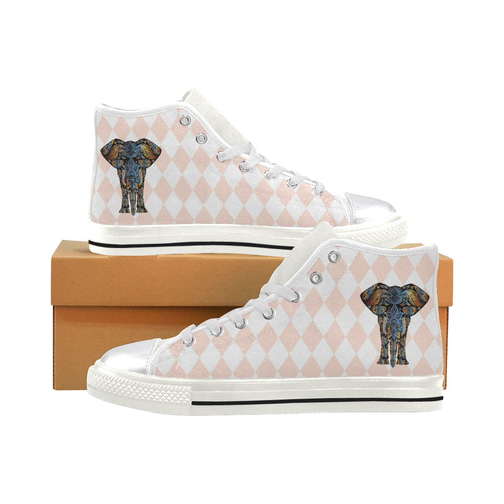 An Elephant Knows Women's Classic High Top Canvas Shoes (Model 017)