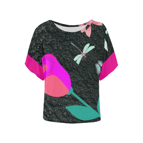 Nature on Texture Women's Batwing-Sleeved Blouse T shirt (Model T44)