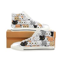 Cute Cat Kitten Cartoon Doodle Women's Classic High Top Canvas Shoes (Model 017)