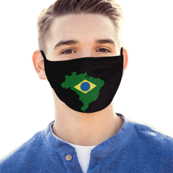 Brazil Flag Map Outline Mouth Mask