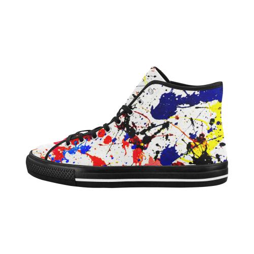 Blue & Red Paint Splatter - Black Vancouver H Men's Canvas Shoes (1013-1)