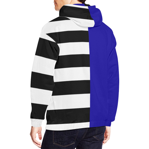 Blue and Stripes Mixed Print All Over Print Hoodie for Men (USA Size) (Model H13)
