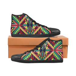 Modern Geometric Pattern Women's High Top Canvas Shoes (Model 002)