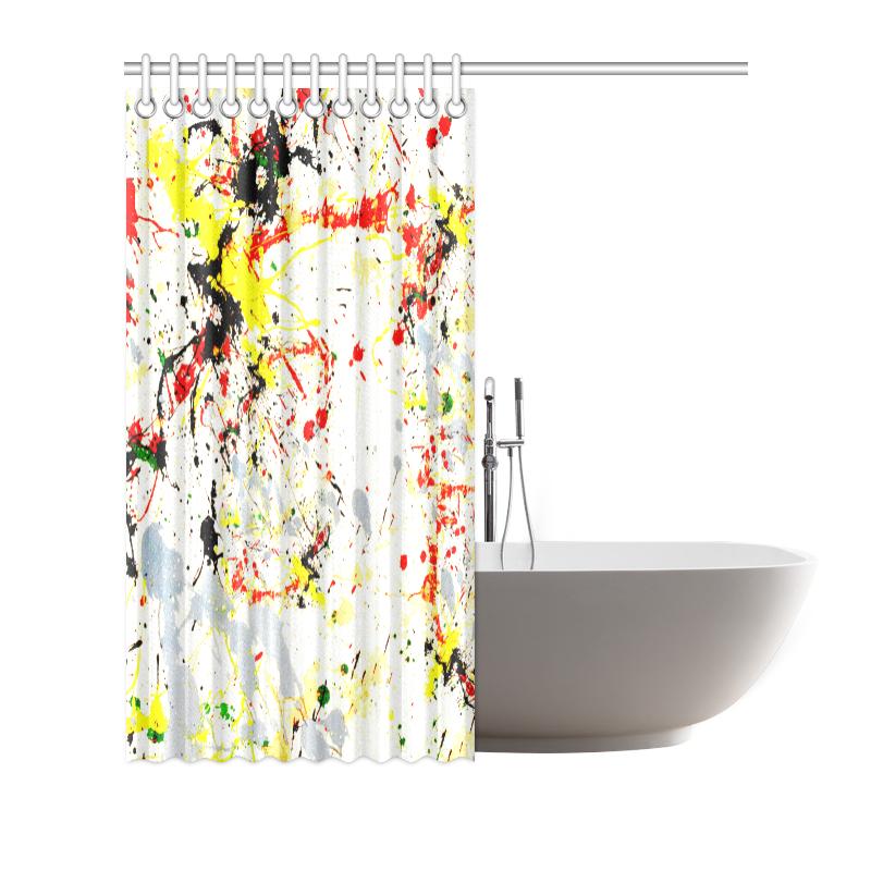 "Black, Red, Yellow Paint Splatter Shower Curtain 66""x72"""
