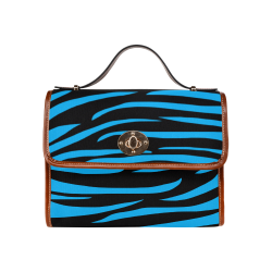 Tiger Stripes Black and Blue Waterproof Canvas Bag/All Over Print (Model 1641)