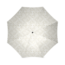 White 3D Geometric Pattern Foldable Umbrella (Model U01)