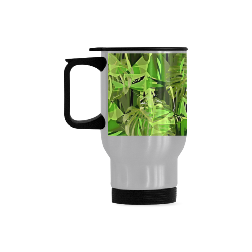 Tropical Jungle Leaves Camouflage Travel Mug (Silver) (14 Oz)