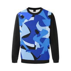 Camouflage Abstract Blue and Black (Vest Style) Black Men's Oversized Fleece Crew Sweatshirt (Model H18)