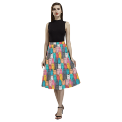 Cartoon Cat Pattern Aoede Crepe Skirt (Model D16)