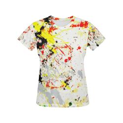 Black, Red, Yellow Paint Splatter All Over Print T-Shirt for Women (USA Size) (Model T40)