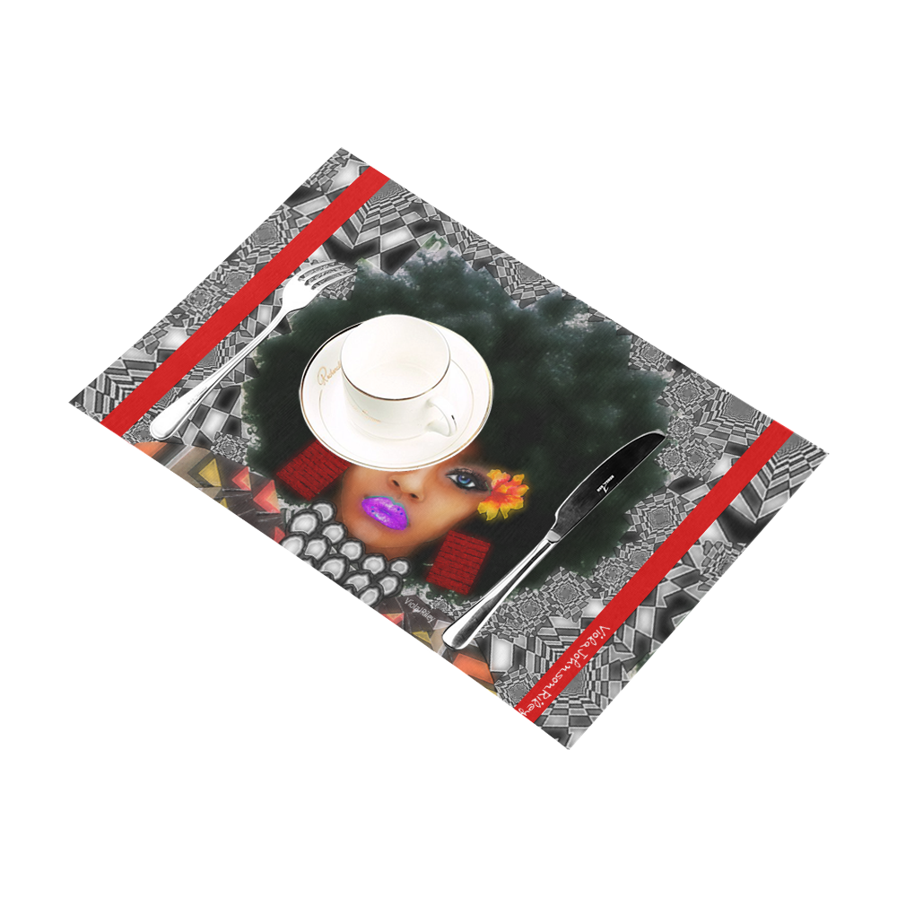 FUEL UP 4pc tab mat red Placemat 12'' x 18'' (Four Pieces)