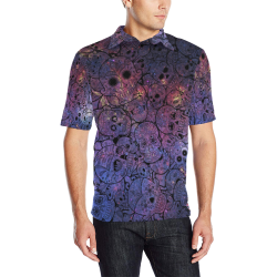 Cosmic Sugar Skulls Men's All Over Print Polo Shirt (Model T55)