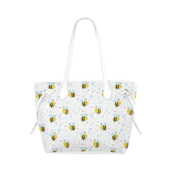 Cute Bee Pattern Clover Canvas Tote Bag (Model 1661)