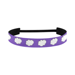 Clouds with Polka Dots on Purple Sports Headband