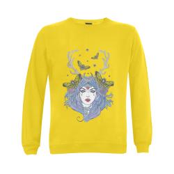 Goddess Sun Moon Earth Yellow Gildan Crewneck Sweatshirt(NEW) (Model H01)