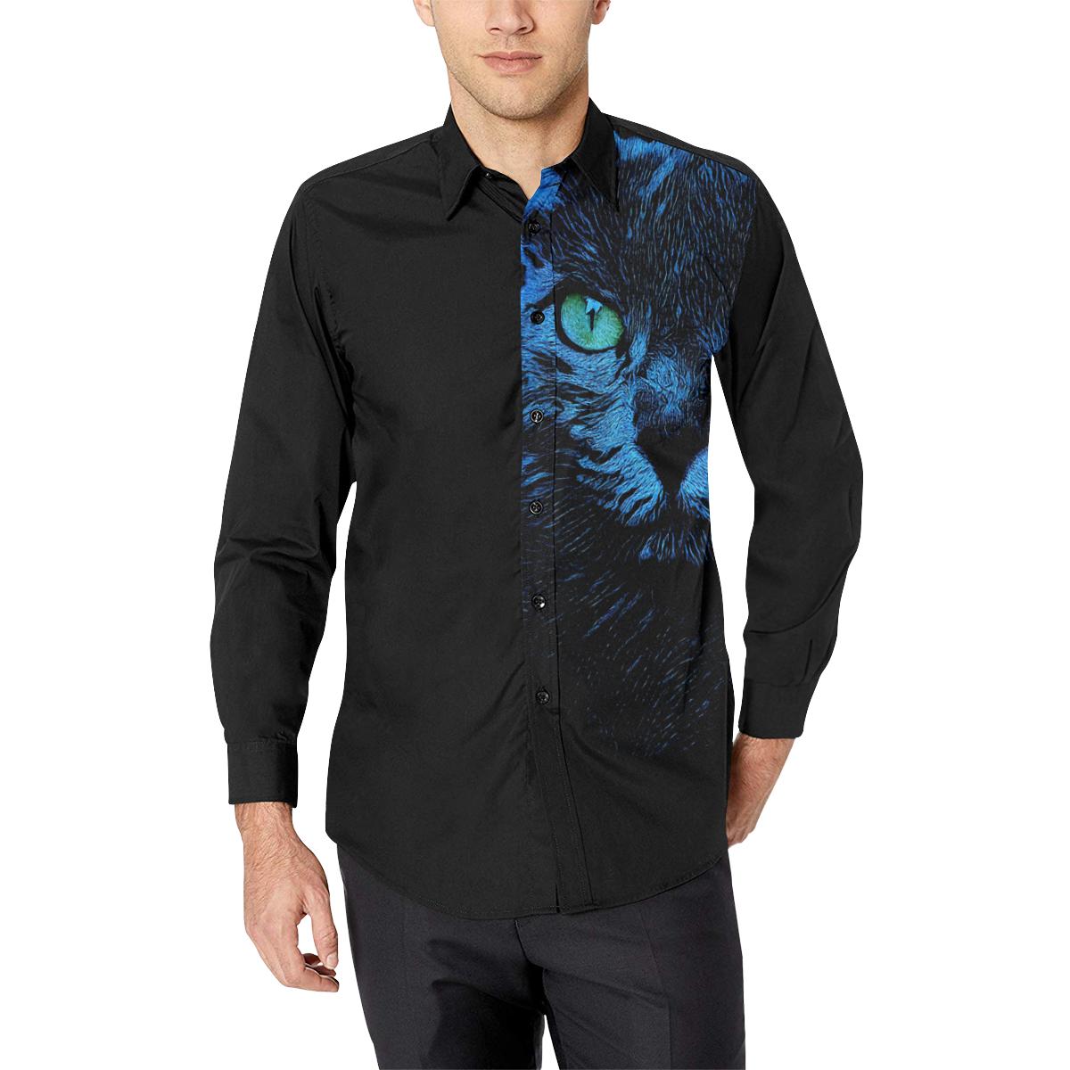 BLUE KORAT CAT GRACE Men's All Over Print Casual Dress Shirt (Model T61)