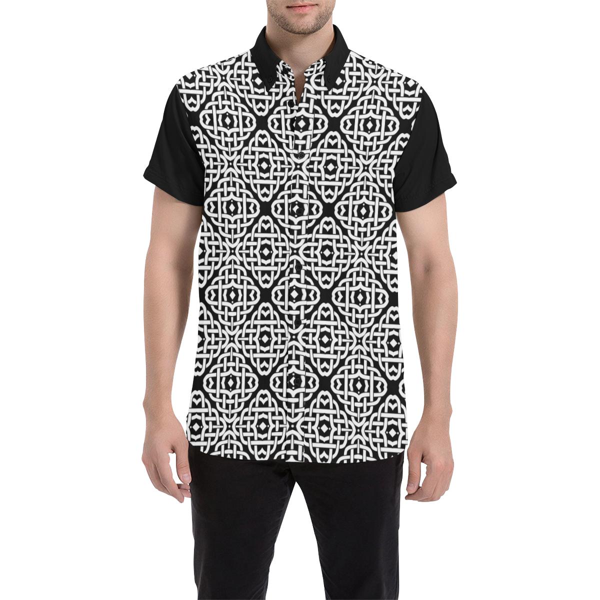 CELTIC KNOT pattern - black white Men's All Over Print Short Sleeve Shirt (Model T53)