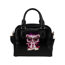 Nice Kitty - Black & PInk Shoulder Handbag (Model 1634)
