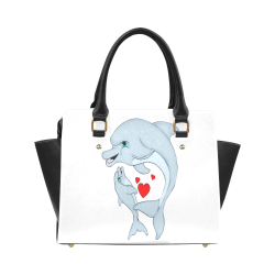 Dolphin Love White Classic Shoulder Handbag (Model 1653)