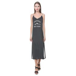 Friends Not Food (Go Vegan) V-Neck Open Fork Long Dress(Model D18)