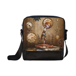 Steampunk girl, clocks and gears Crossbody Nylon Bags (Model 1633)