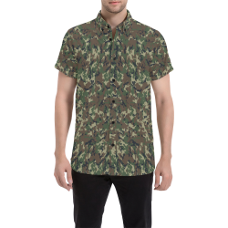 Forest Camouflage Pattern Men's All Over Print Short Sleeve Shirt (Model T53)