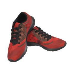 Skulls on red vintage background Men's Running Shoes (Model 020)