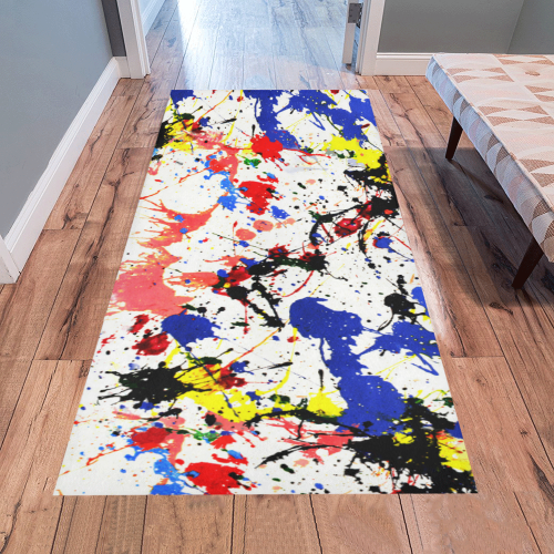 Blue and Red Paint Splatter Area Rug 7'x3'3''