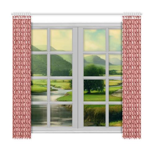 "Burgundy fold waves Window Curtain 50""x96""(Two Piece)"