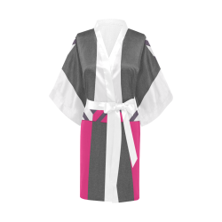 Monochrome Pink Tiles Kimono Robe
