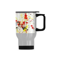 Black, Red, Yellow Paint Splatter Travel Mug (14oz)