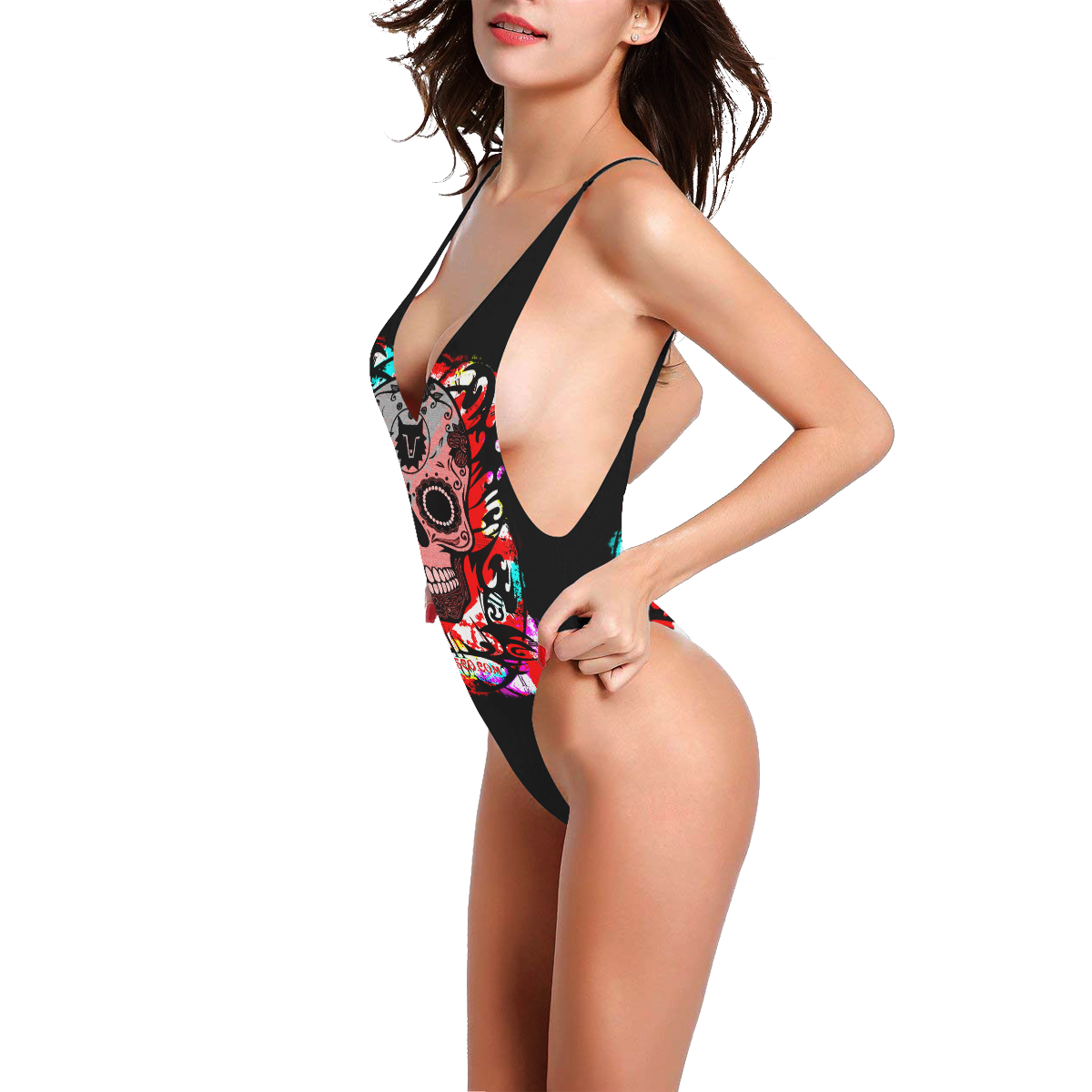SKULL CULT SEXY II Sexy Low Back One-Piece Swimsuit (Model S09)
