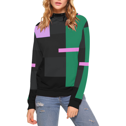 OUTSIDER ABSTRACT High Neck Pullover Hoodie for Women (Model H24)