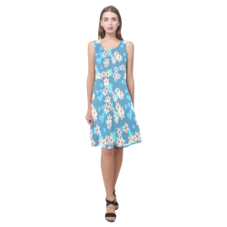 Fresh Flowers Sleeveless Splicing Shift Dress(Model D17)