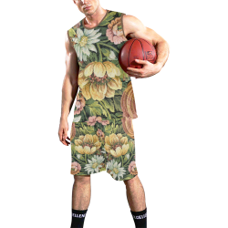 grandma's vintage floral couch All Over Print Basketball Uniform
