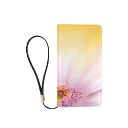 Gerbera Daisy - Pink Flower on Watercolor Yellow Men's Clutch Purse (Model 1638)